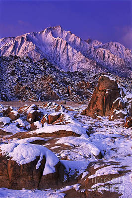 Winter Morning Alabama Hills And Eastern Sierras Print by Dave Welling
