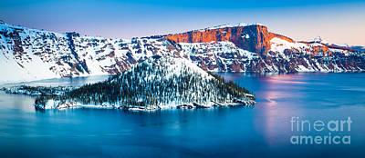 Winter Morning At Crater Lake Print by Inge Johnsson