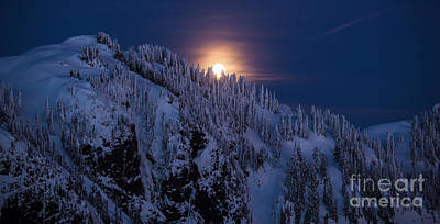 Winter Mountain Moonrise Print by Mike Reid