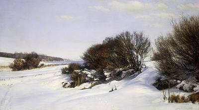 Winter Near The Sea Print by Janus la Cour
