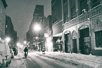 Snowy Night Photograph - Winter Night - New York City - Lower East Side by Vivienne Gucwa