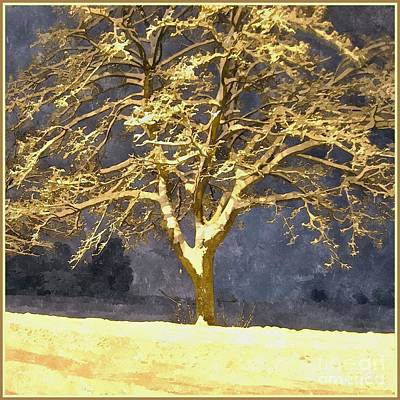 Winter Night - Snowy Tree Print by Jutta Wolfram
