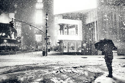 Snowstorm Photograph - Winter Night - Times Square - New York City by Vivienne Gucwa