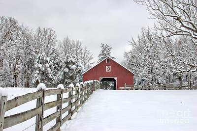 Red Barn In Winter Photograph - Winter On The Farm by Benanne Stiens