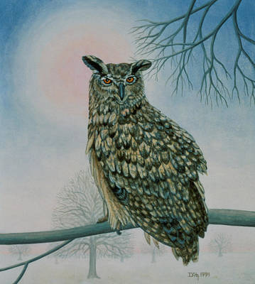 Owl Painting - Winter Owl by Ditz