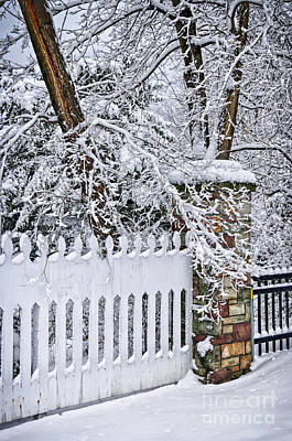 Snowstorm Photograph - Winter Park Fence by Elena Elisseeva