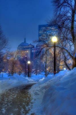 Winter Path - Boston Public Garden Print by Joann Vitali