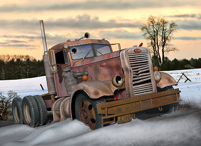 Old Trucks Digital Art - Winter Pete by Stuart Swartz