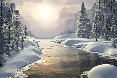 Cross-country Skiing Painting - Winter Piece by John Robichaud