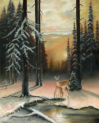 Snow Scene Painting - Winter Redwoods by Cecilia Brendel