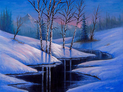 Wet On Wet Painting - Winter Reflections by C Steele