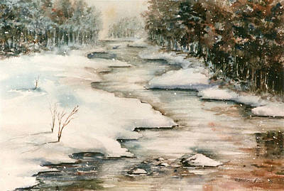 Kristine Painting - Winter Reflections by Kristine Plum