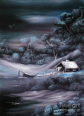 Snowscape Painting - Winter Retreat Sold by Cynthia Adams