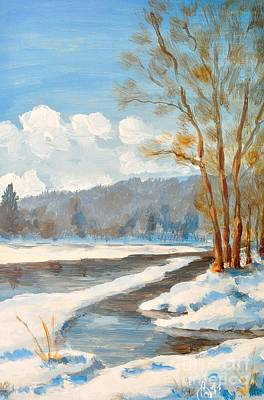 Winterscape Painting - Winter River by Martin Capek