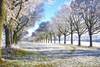 Winter Road Surrounded By Snow-covered Trees Print by Lanjee Chee