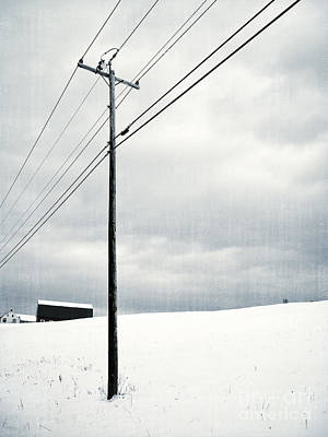 Telephone Poles Photograph - Winter Rural Scene by Edward Fielding