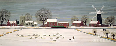 Windmills Painting - Winter Scene In Lincolnshire by Vincent Haddelsey