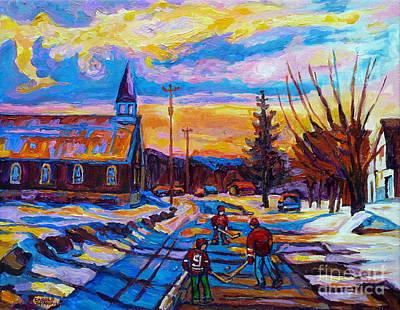 Winter Sports Painting - Winter Scene Painting-hockey Game In The Village-rural Hockey Scene by Carole Spandau