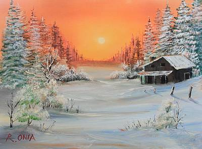 Sunrise Painting - Winter Scene by Remegio Onia
