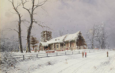 Winter Scenes Painting - Winter Scene With Figures On A Path Near A Church by Nils Hans Christiansen