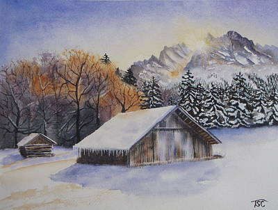 Snowscape Painting - Winter Serenity by Tammy Crawford