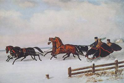 Buggy Painting - Winter Sleigh by Cornelius Krieghoff
