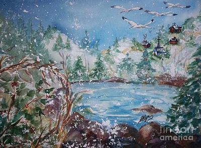 Snow Geese Painting - Winter Solstice by Ellen Levinson