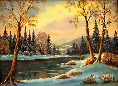 Tree Roots Painting - Winter Splendor by Hazel Holland
