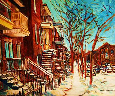 Quebec Streets Painting - Winter Staircase by Carole Spandau
