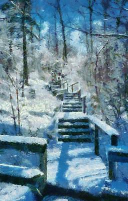 Snow Covered Trees Digital Art - Winter Stairway by Michelle Calkins