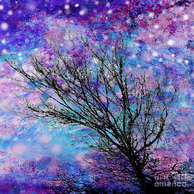 Winter Starry Night Square Print by Ann Powell