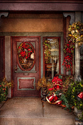 Winter - Store - Metuchen Nj - Dressed For The Holidays Print by Mike Savad