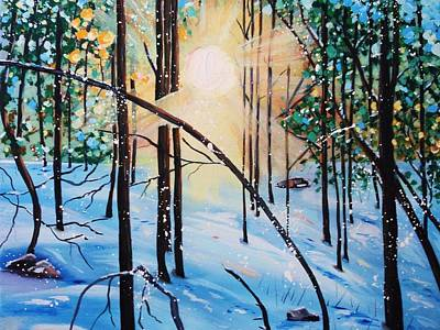 Snowscape Painting - Winter Sun by Nancy Milano
