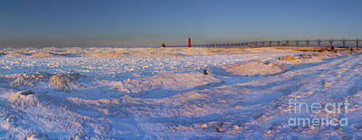Winter Sunrise In Grand Haven Print by Twenty Two North Photography