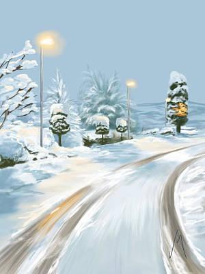 Digital Painting - Winter Sunrise by Veronica Minozzi