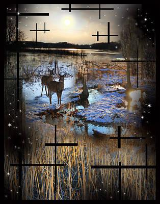 Winter Swamp Evening Print by Andrew Sliwinski