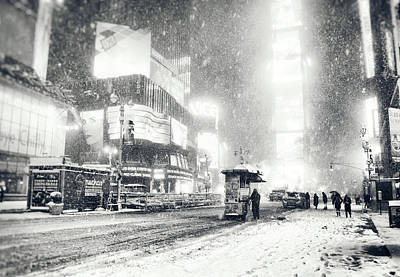 Snowstorm Photograph - Winter - Times Square - New York City by Vivienne Gucwa