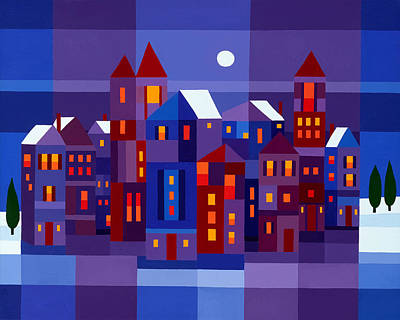 Deep Blue Painting - Winter Town by Michael Jernegan