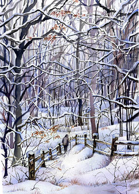 Snowscape Painting - Winter Trail by Beth Kantor