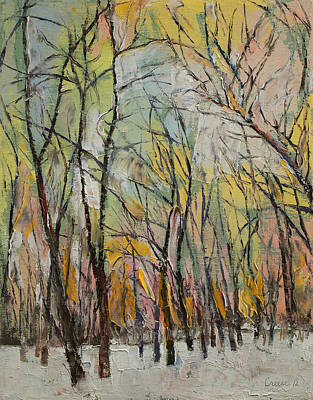 Abstrait Painting - Winter Trees by Michael Creese