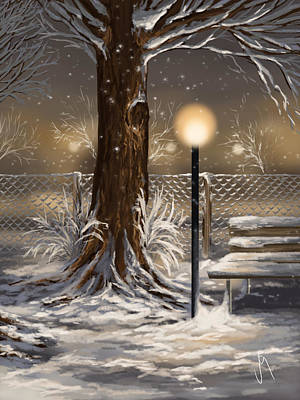 Snowscape Painting - Winter Trilogy 2 by Veronica Minozzi