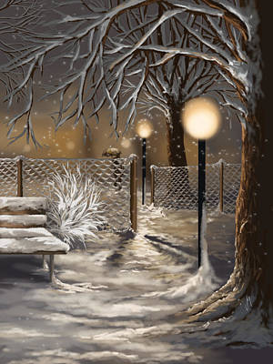 Snowscape Painting - Winter Trilogy 3 by Veronica Minozzi