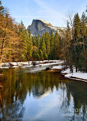 Winter View Of Half Dome In Yosemite National Park. Print by Jamie Pham