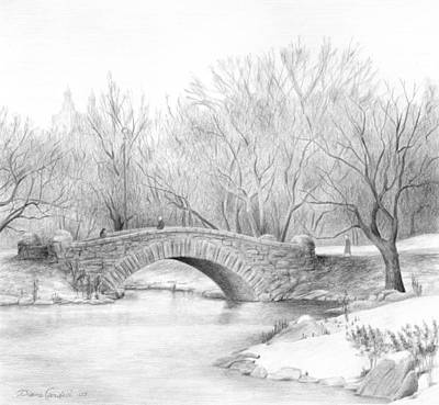 Central Park Drawing - Winter Walk by Diane Cardaci