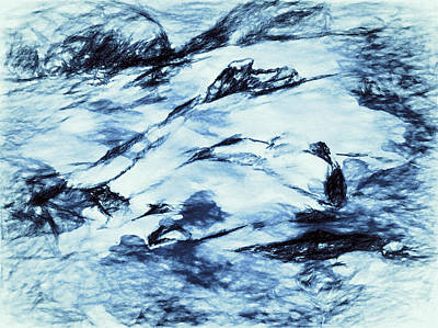 Digital Abstract Drawing - Winter Wasteland by Jo-Anne Gazo-McKim