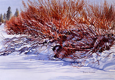 Snow Scene Landscape Painting - Winter Willows by Sharon Freeman