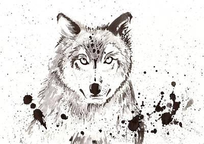 Wolf Watercolor Painting - Winter Wolf by Tiberiu Soos