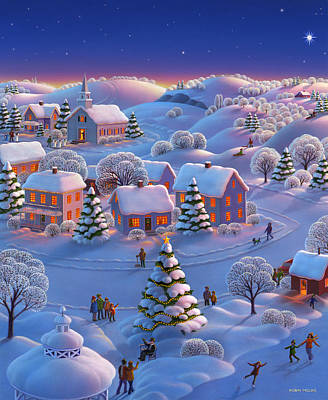 Winter Night Painting - Winter Wonderland  by Robin Moline