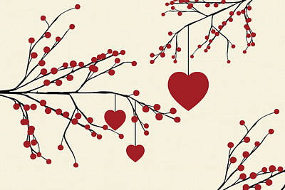 Be My Valentine Digital Art - Winterberries And Hearts by Chastity Hoff