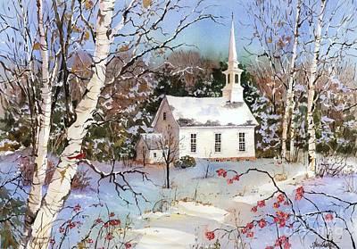 New England Snow Scene Painting - Winterberries by Sherri Crabtree